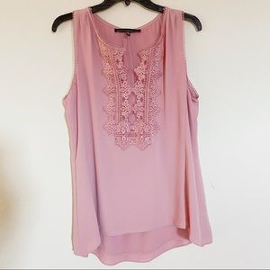 WHBM dusty pink tank with lace detail
